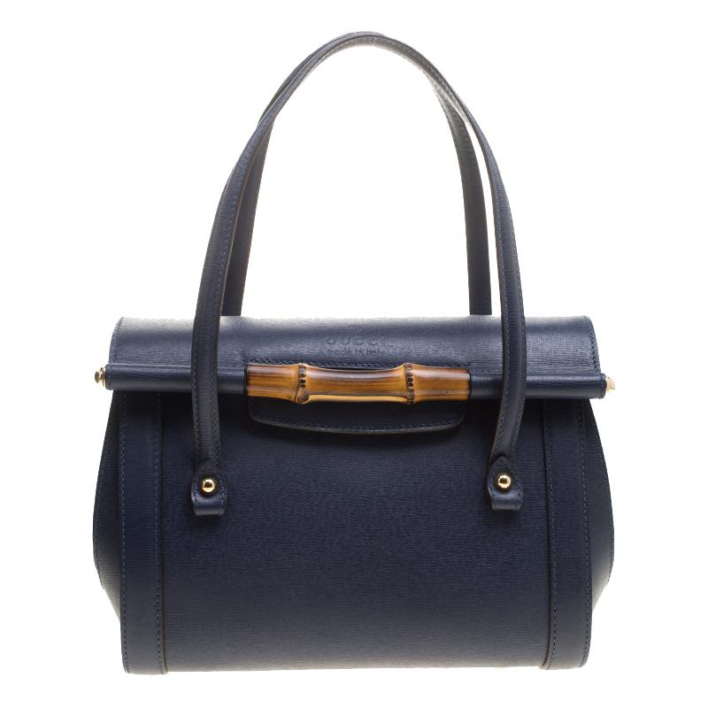 6b1ec3e018fe99 ... Gucci Navy Blue Leather New Bullet Bamboo Top Handle Bag. nextprev.  prevnext
