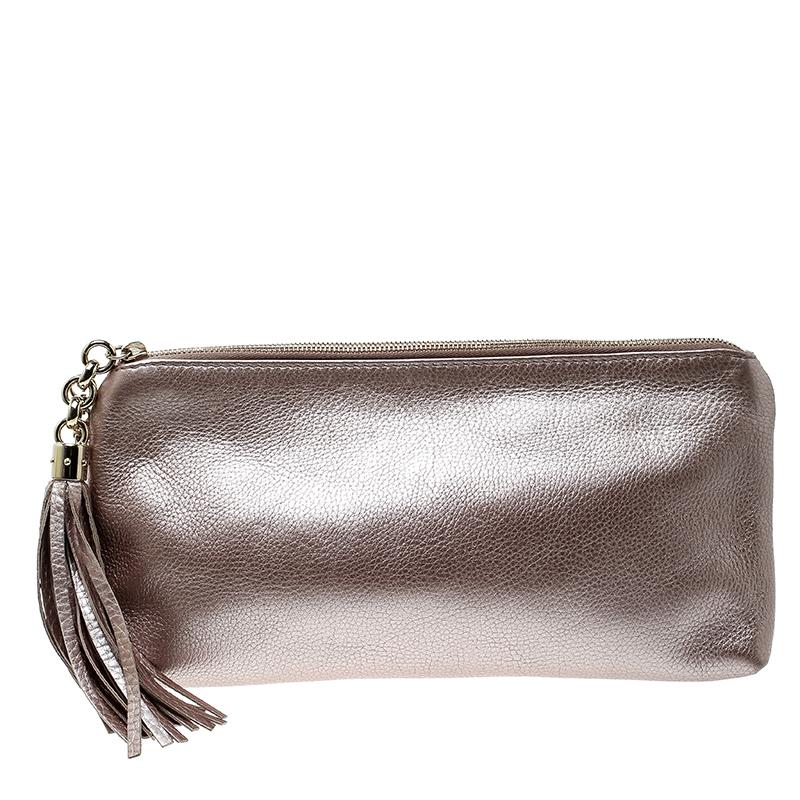 Купить со скидкой Gucci Metallic Blush Pink Leather Broadway Tassel Evening Clutch