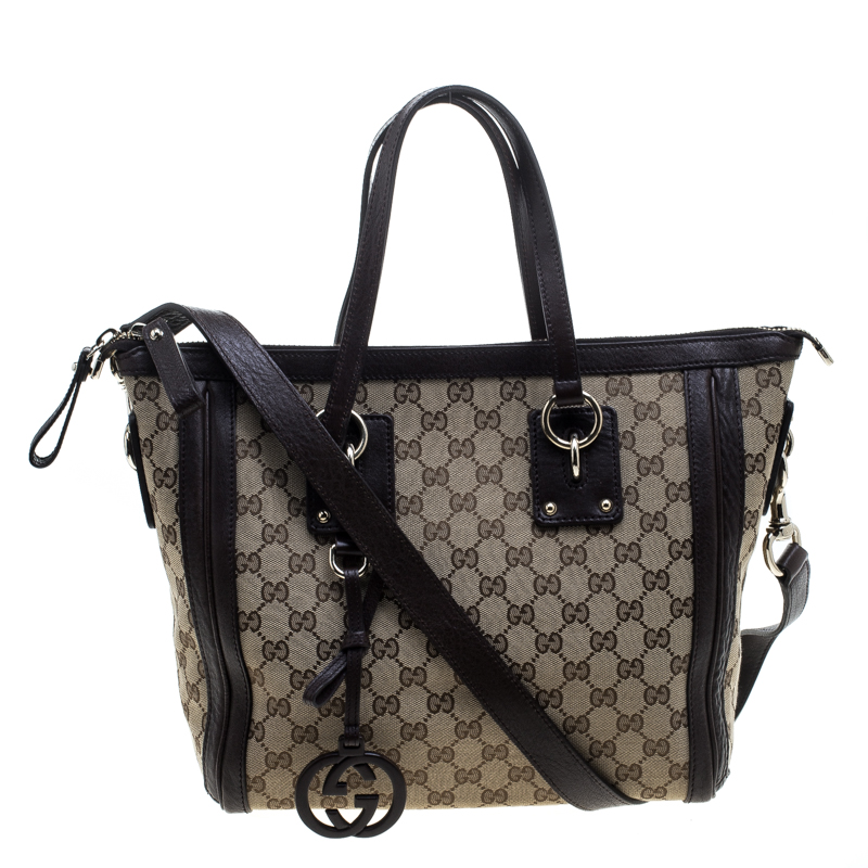 c78392a03161 ... Gucci Beige Brown GG Canvas and Leather Medium Charm Tote. nextprev.  prevnext