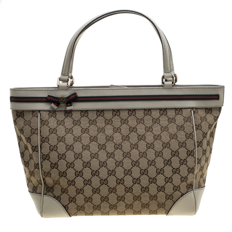 a9567d232239 Buy Gucci Beige GG Canvas Mayfair Bow Tote 144226 at best price | TLC