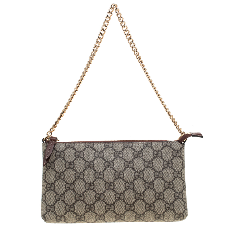 4ccc42468a8e Buy Gucci Beige GG Supreme Canvas Chain Wrist Wallet 144440 at best ...