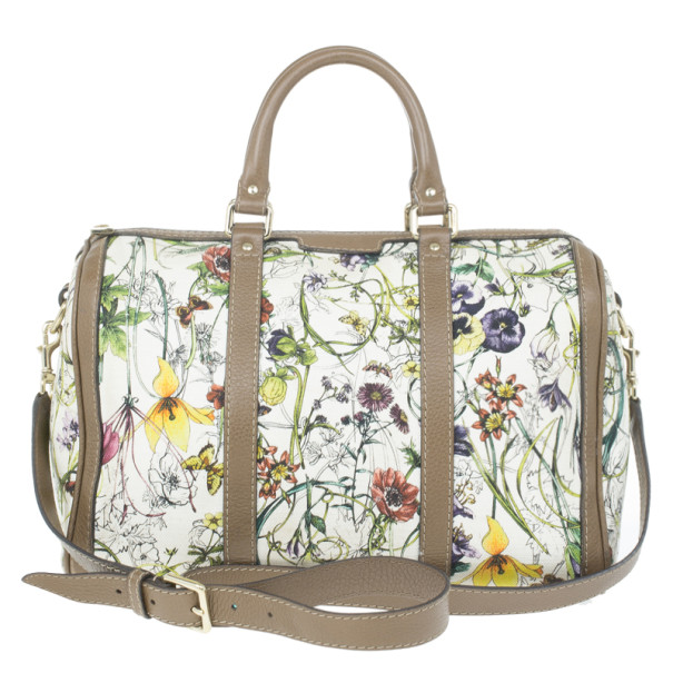4b65738bad0 Buy Gucci Floral Print Canvas Boston Bag 14445 at best price