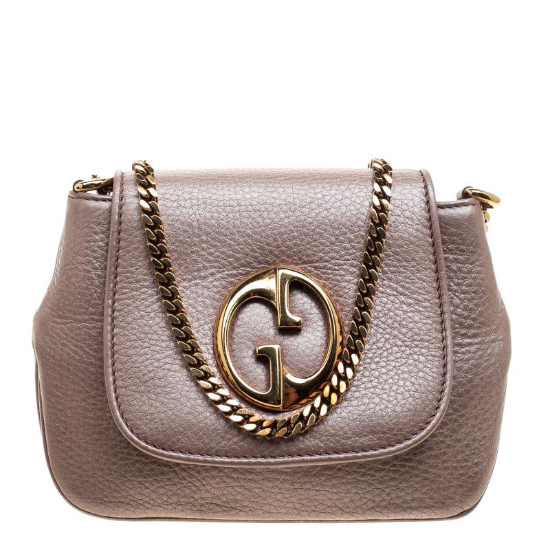 9f52e55e8ddc2e ... Gucci Blush Pink Leather Small 1973 Chain Crossbody Bag. nextprev.  prevnext
