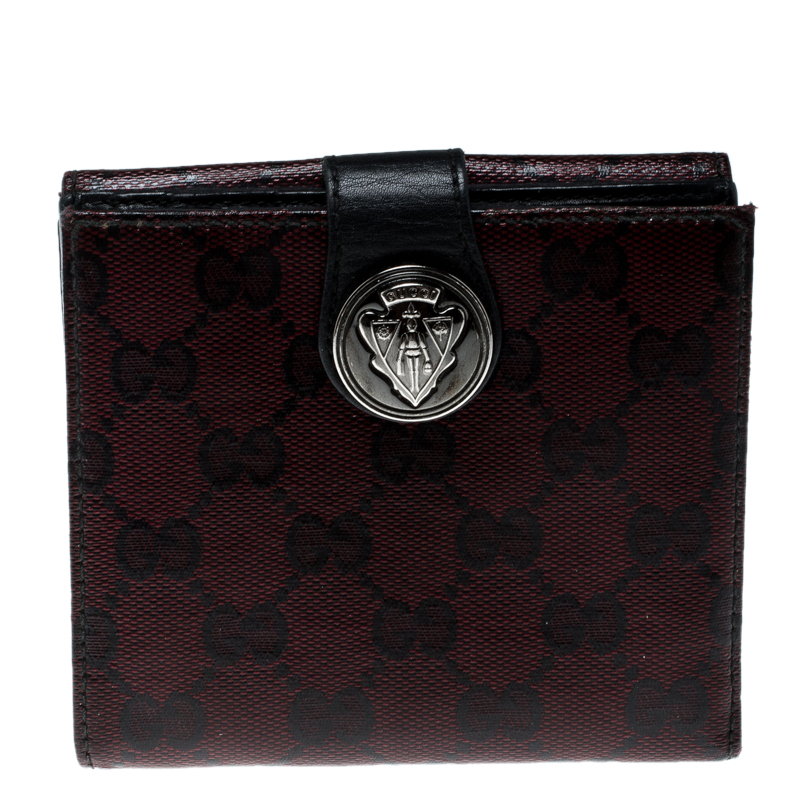 58681dc1a583 Buy Gucci Burgundy GG Crystal Canvas Hysteria French Wallet 144565 ...