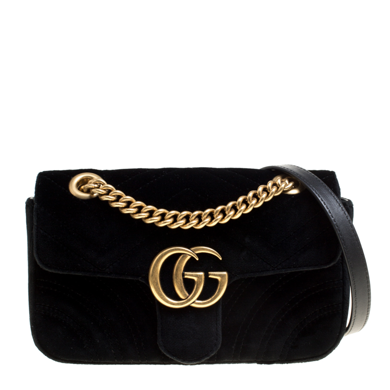 08d86b13a ... Gucci Black Matelasse Velvet Mini GG Marmont Shoulder Bag. nextprev.  prevnext