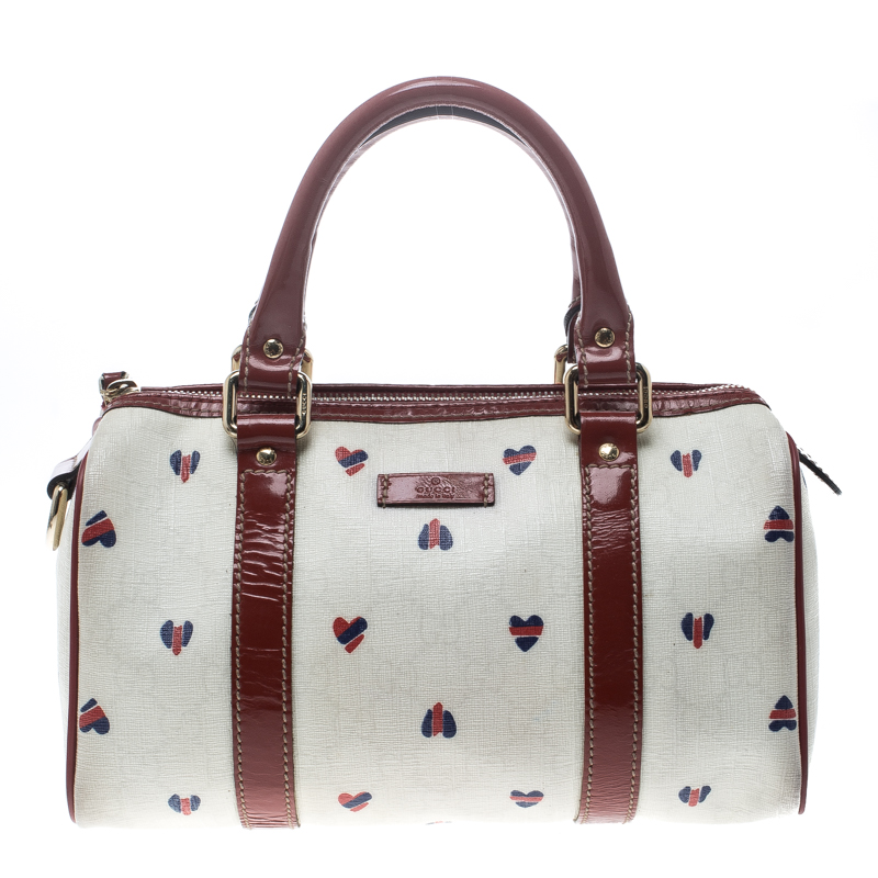 Gucci Off White Red Coated Canvas And Patent Leather Joy Heart Boston Bag