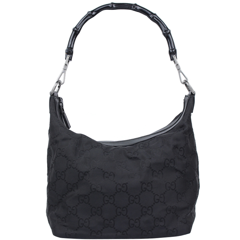 816025c9631a Buy Gucci Black GG Nylon Bamboo Top Handle Bag 147572 at best price ...