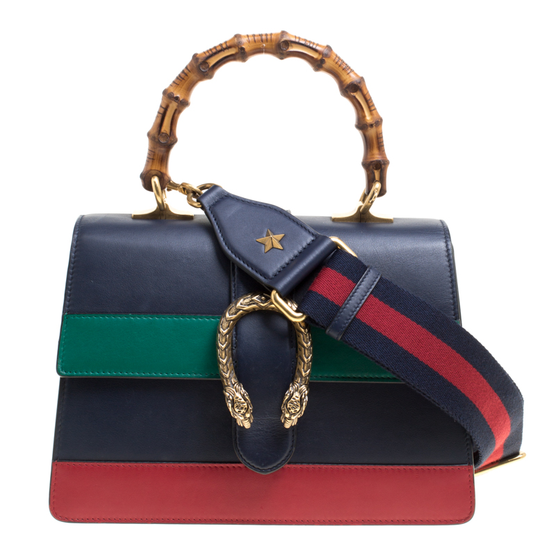 e982bb7f6ea8 ... Gucci Navy Blue/Red and Green Striped Leather Medium Dionysus Top Handle  Bag. nextprev. prevnext
