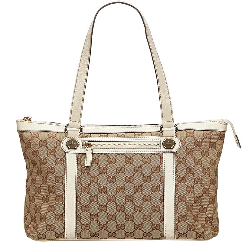 02a0737cca0 Buy Gucci Beige White GG Canvas Leather Tote 148263 at best price