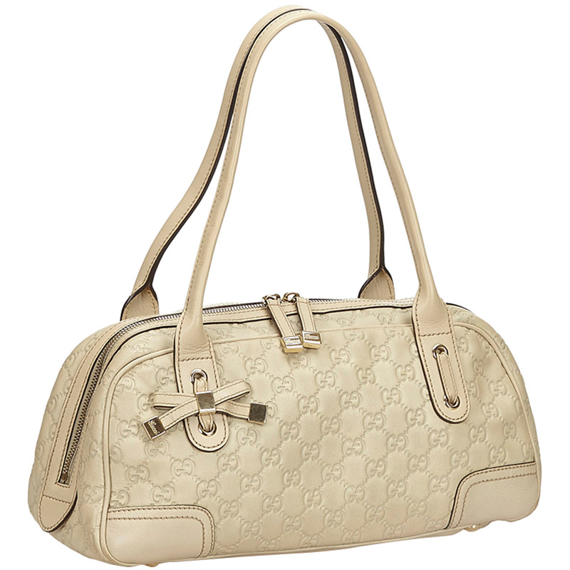 Gucci Ivory Guccissima Leather Medium Princy Boston Bag, Cream