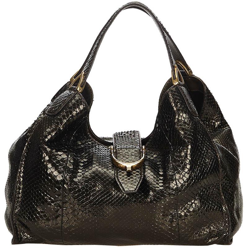 3e1cdae8f2bd Gucci Black Python Large Soft Stirrup Bag 148296 At Best Tlc