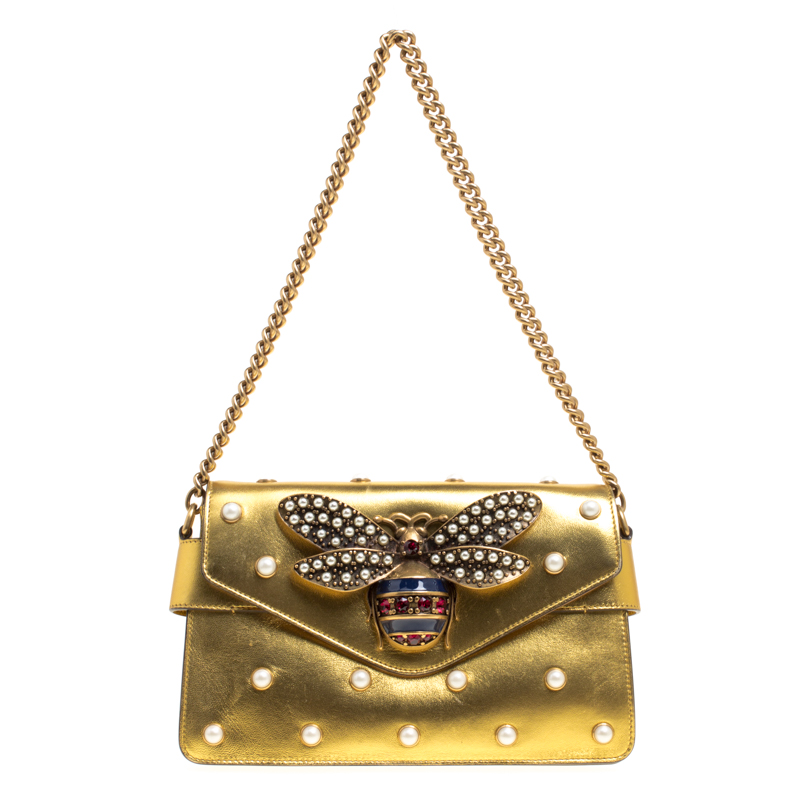 15e70acca82 ... Gucci Gold Leather Mini Pearl Embellished Broadway Shoulder Bag.  nextprev. prevnext