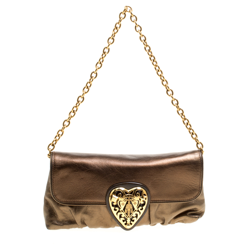 b22b9e63df4 ... Gucci Metallic Khaki Leather Hysteria Shoulder Bag. nextprev. prevnext