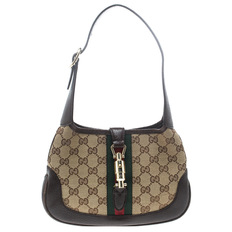 Купить со скидкой Gucci Beige/Brown GG Canvas and Leather Mini Jackie Hobo