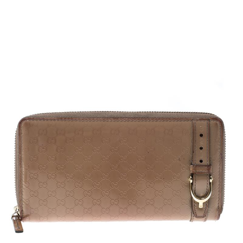 81fa5c9827b Gucci Beige Micro Guccissima Patent Leather Zip Around Wallet. Gucci Vine  Black Patent Leather Handbag