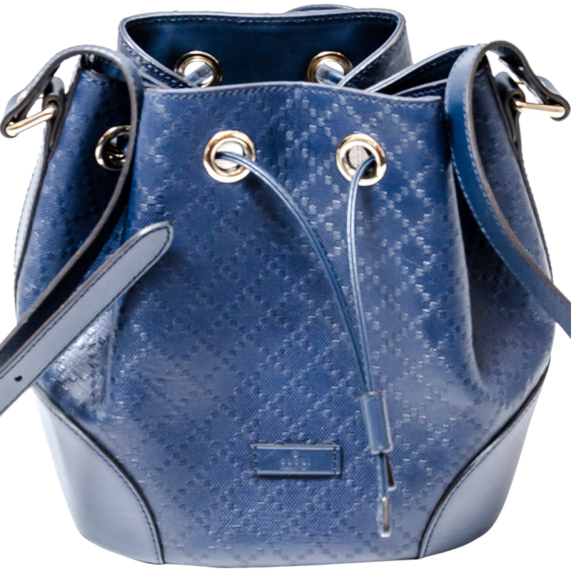 dd93aaff747 ... Gucci Blue Diamante Textured Leather Medium Hilary Bucket Bag.  nextprev. prevnext