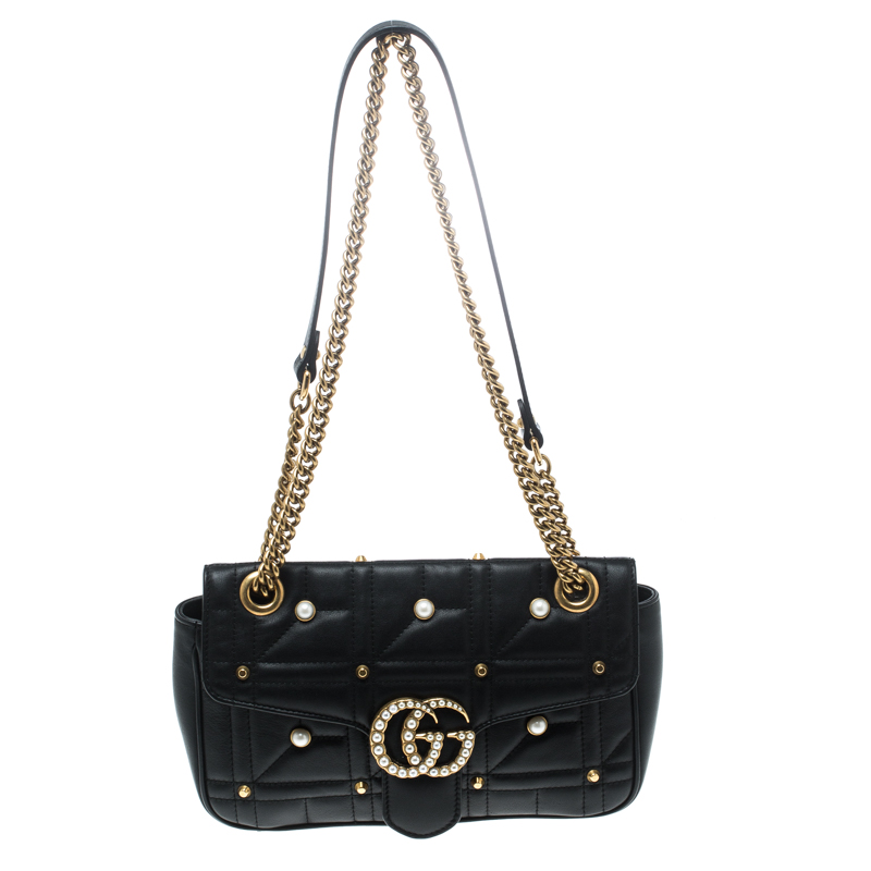 66c5bad1ff4 Buy Gucci Black Matelasse Leather Pearl Embellished GG Marmont ...
