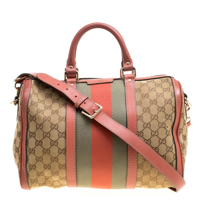 92807be72dc ... Gucci Brown Beige GG Canvas Medium Vintage Web Boston Bag. nextprev.  prevnext
