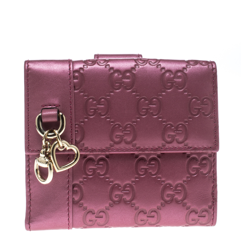 1b7ba06787c Buy Gucci Metallic Pink Guccissima Leather Compact Wallet 152715 at best  price