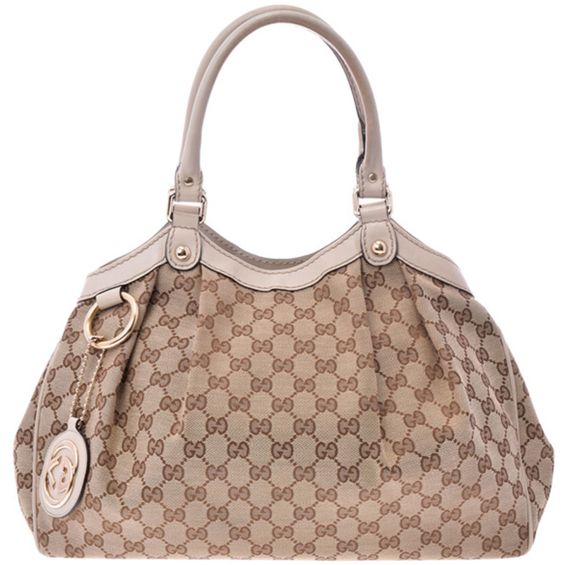 59e27d9ced0 Buy Gucci Beige Pink GG Canvas Sukey Bag 152878 at best price