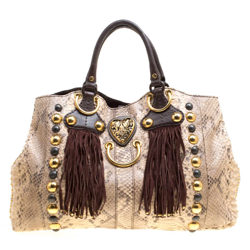 587060bdc1f9 Buy Gucci Beige/Brown Python and Leather Large Babouska Heart Tote ...