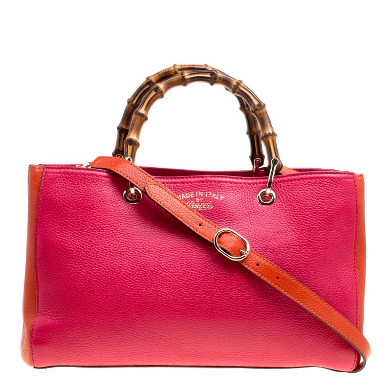 a01e6f8ab Buy Gucci Fuchsia/Orange Leather Medium Exclusive Bamboo Shopper Top ...