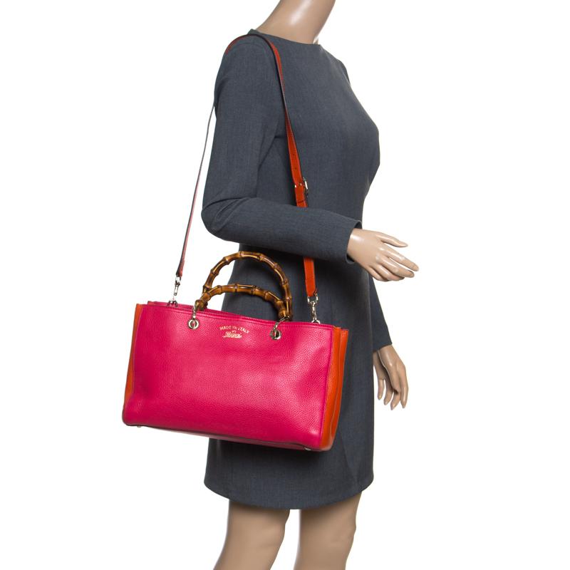 Gucci Fuchsia/Orange Leather Medium Exclusive Bamboo Shopper Top Handle Bag, Pink