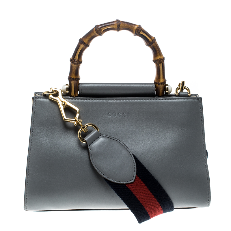 5e9d41bb6f92 Buy Gucci Grey/Off White Leather Small Nymphaea Bamboo Top Handle ...
