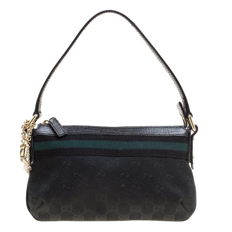 Купить со скидкой Gucci Black GG Canvas and Leather Jolicoeur Web Pochette