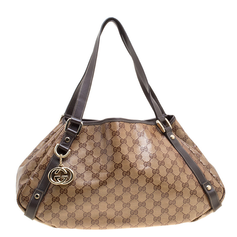 1e750011854 Buy Gucci Beige Brown GG Coated Canvas Abbey D-Ring Shoulder Bag ...