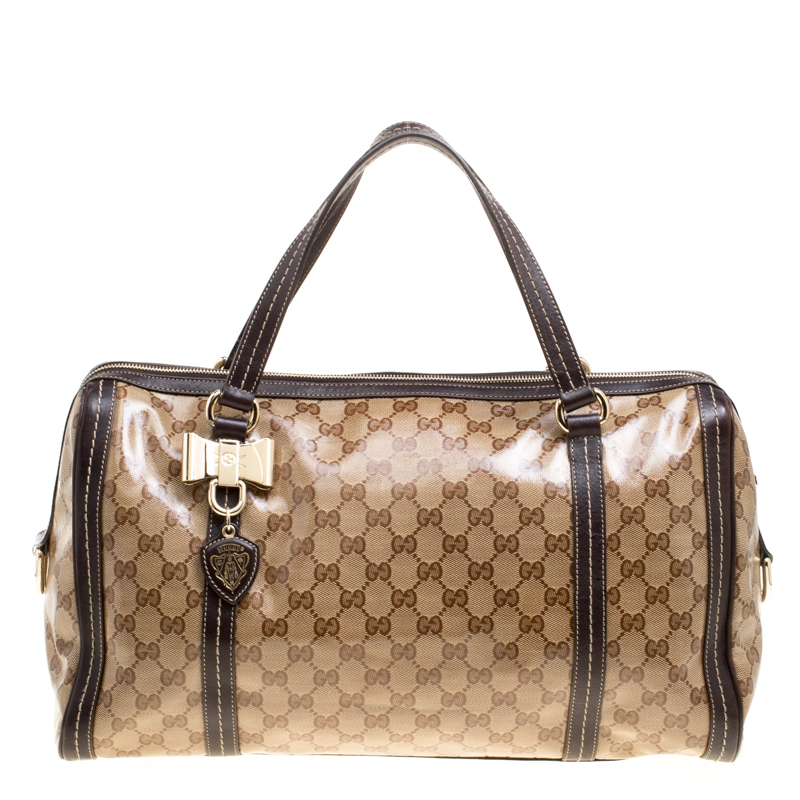 Купить со скидкой Gucci Beige/Brown GG Crystal Canvas and Leather Large Duchessa Boston Bag