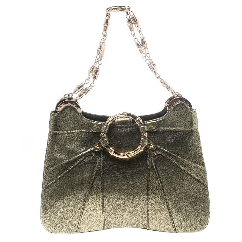 Купить со скидкой Gucci Gold Leather Limited Edition Bamboo Tom Ford Shoulder Bag