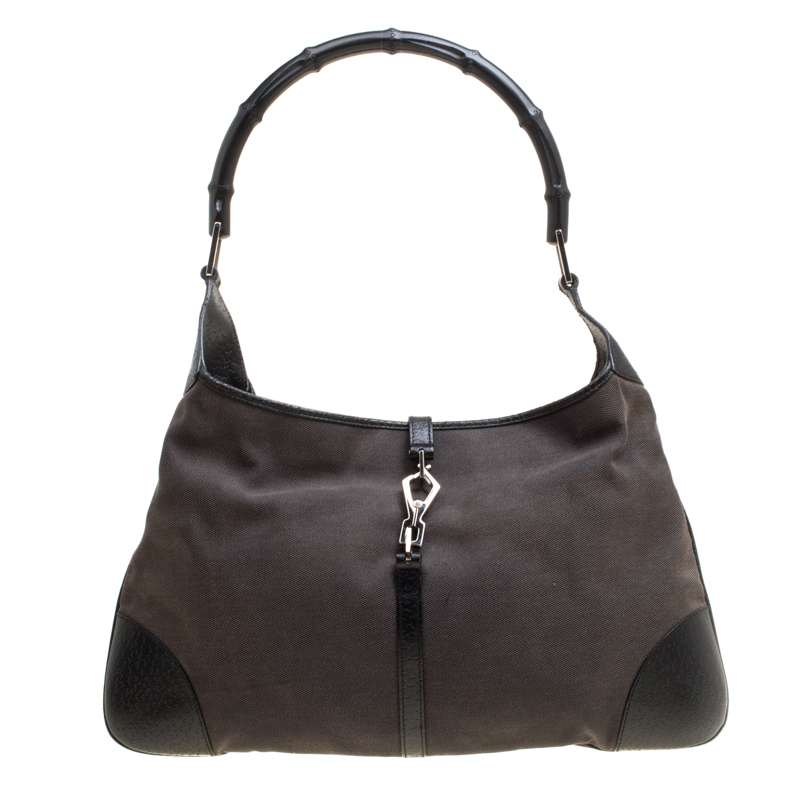 Купить со скидкой Gucci Grey/Black Canvas and Leather Jackie O Bamboo Hobo