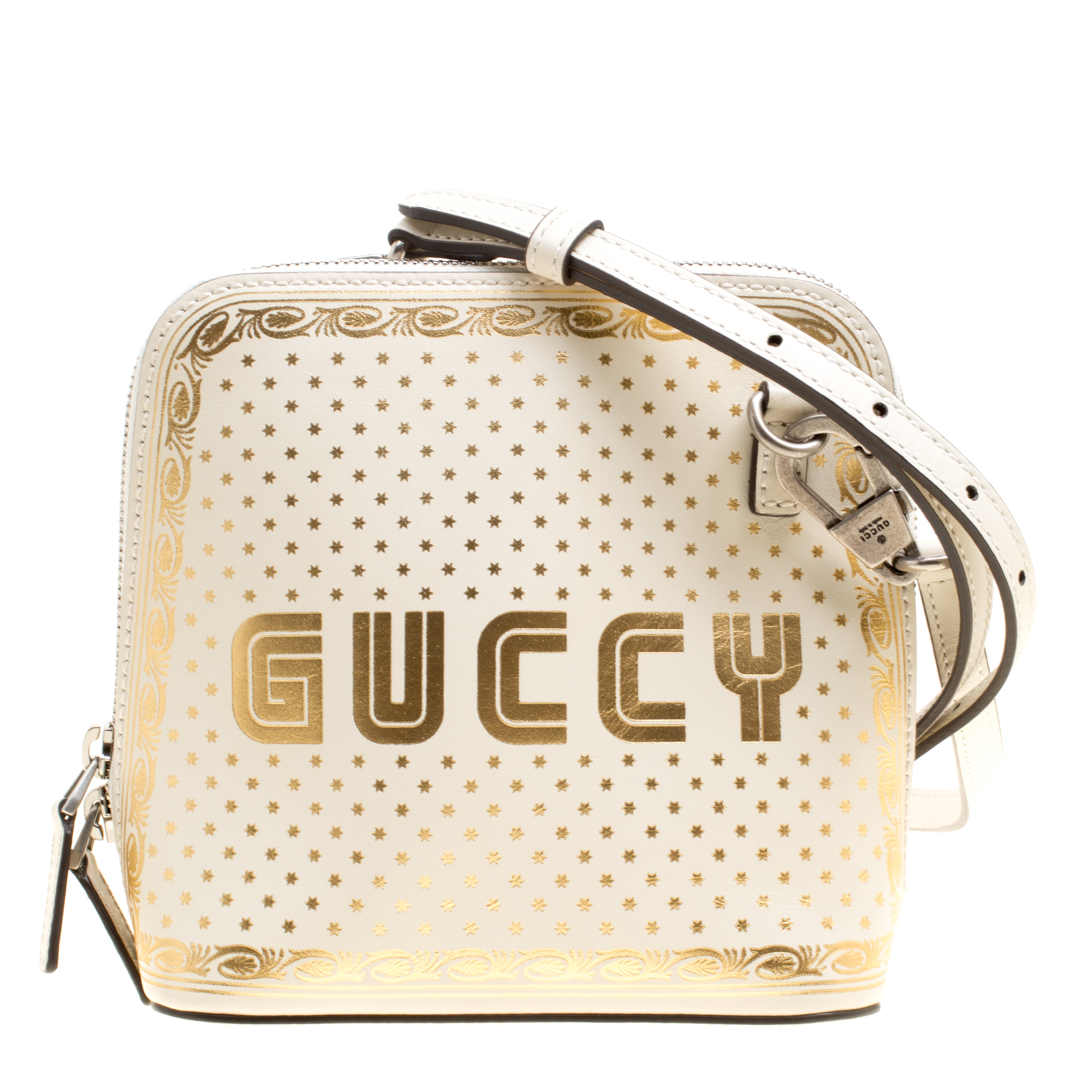 b787d5c7a757 Buy Gucci White/Gold Leather Mini Guccy Shoulder Bag 156900 at best ...