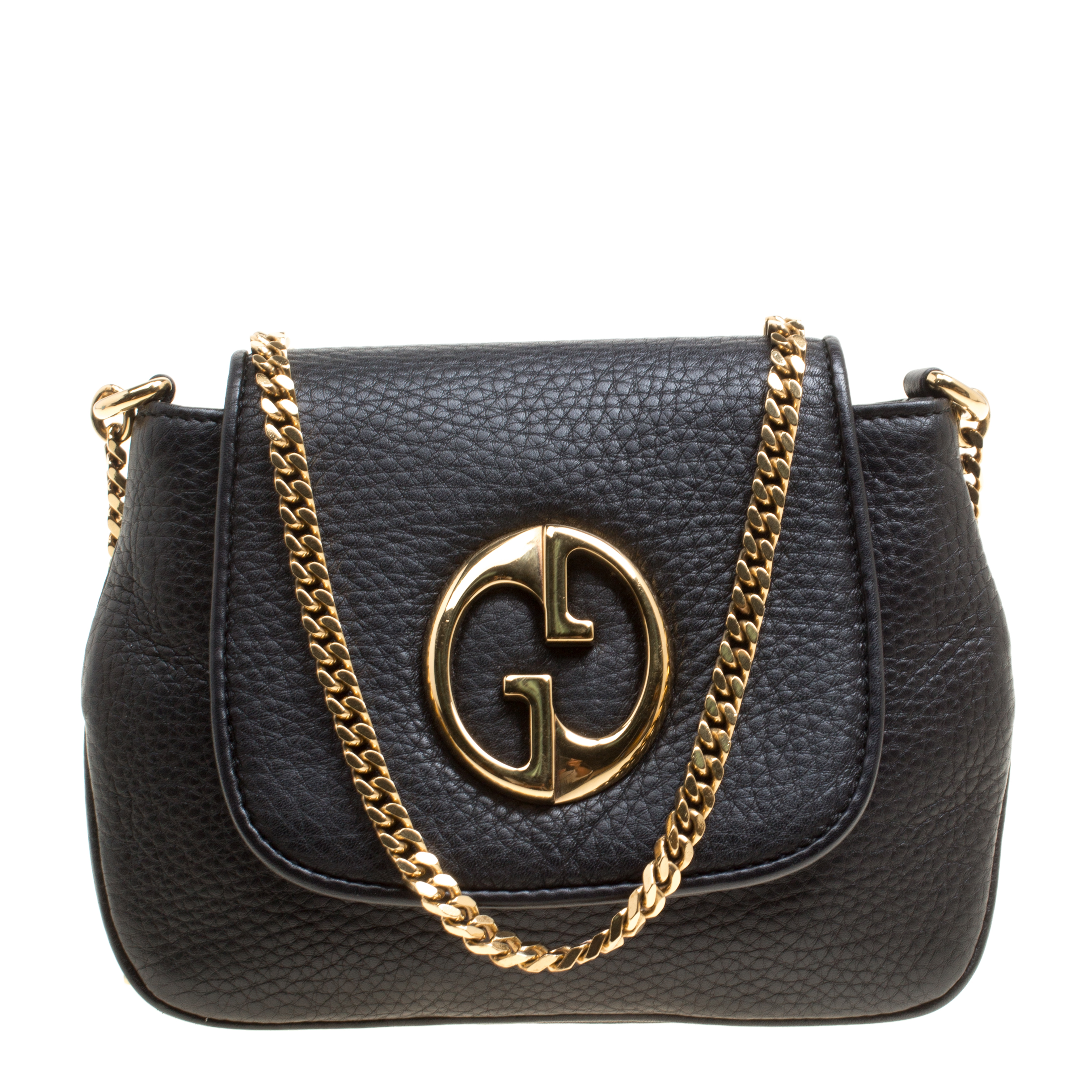 26ecba07863 ... Gucci Black Leather Small 1973 Chain Crossbody Bag. nextprev. prevnext
