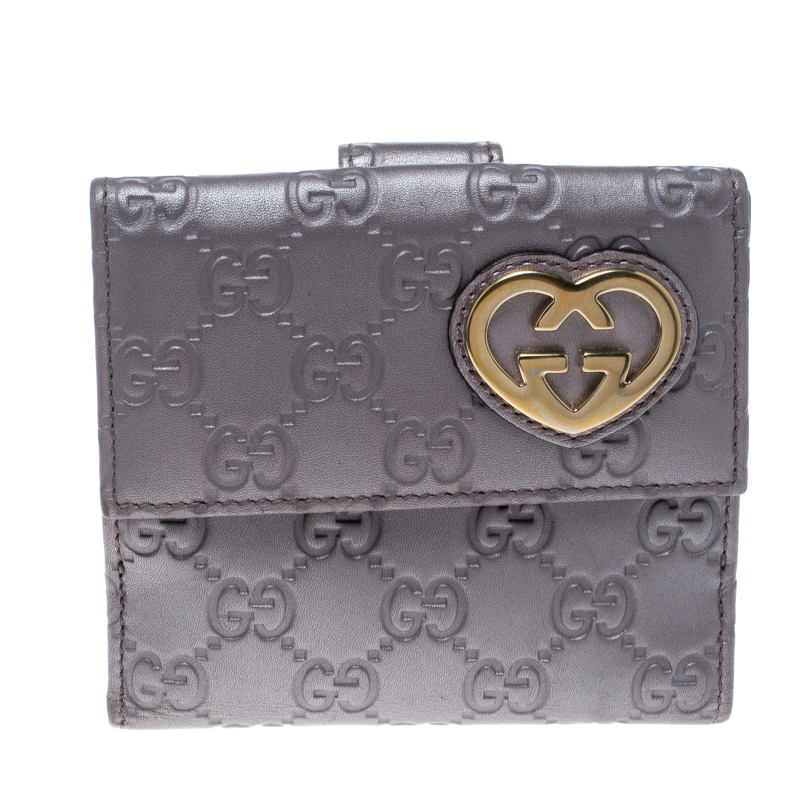 5d8148d156b2 ... Gucci Metallic Lilac Guccissima Leather Heart Interlocking GG French  Wallet. nextprev. prevnext