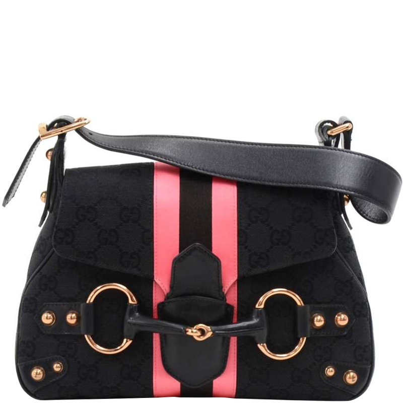 193c9e9549463 Buy Gucci Black Pink GG Canvas Horsebit Shoulder Bag 158104 at best ...