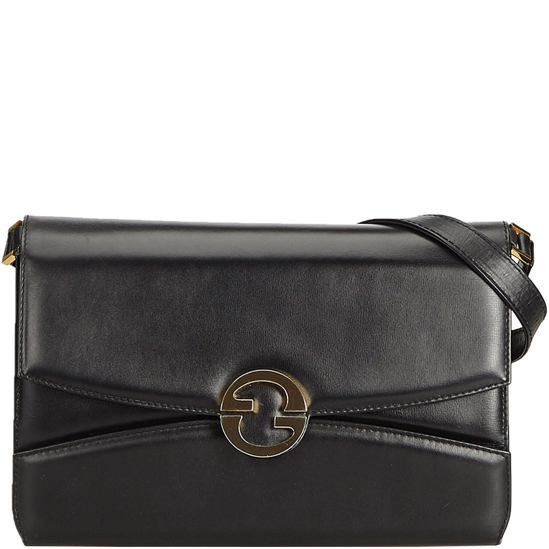 4426323c2c6 Buy Gucci Black Leather Crossbody Shoulder Bag 158549 at best price ...