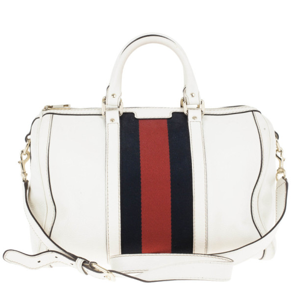 Gucci White Pebbled Leather Vintage Web Boston Bag Nextprev Prevnext