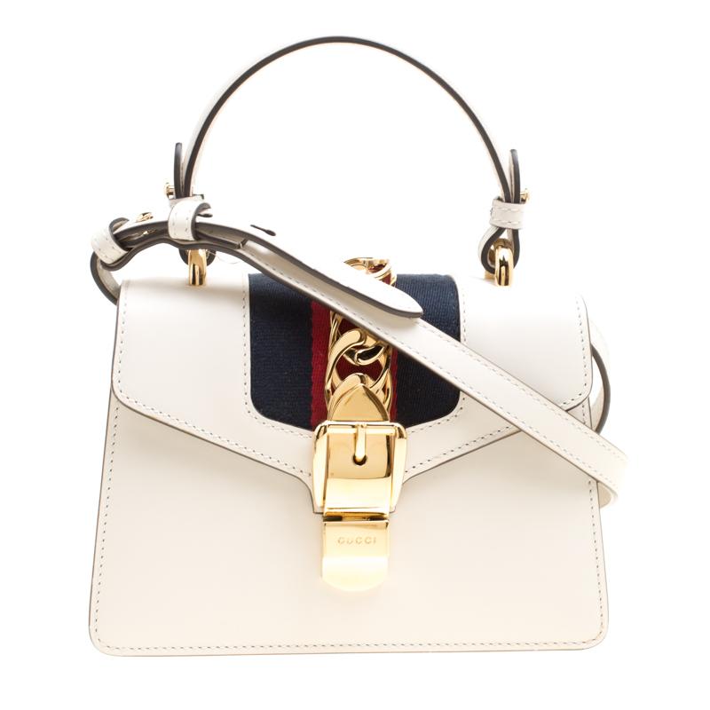 6cbf3b6f6 ... Gucci Off White Leather Mini Sylvie Top Handle Bag. nextprev. prevnext