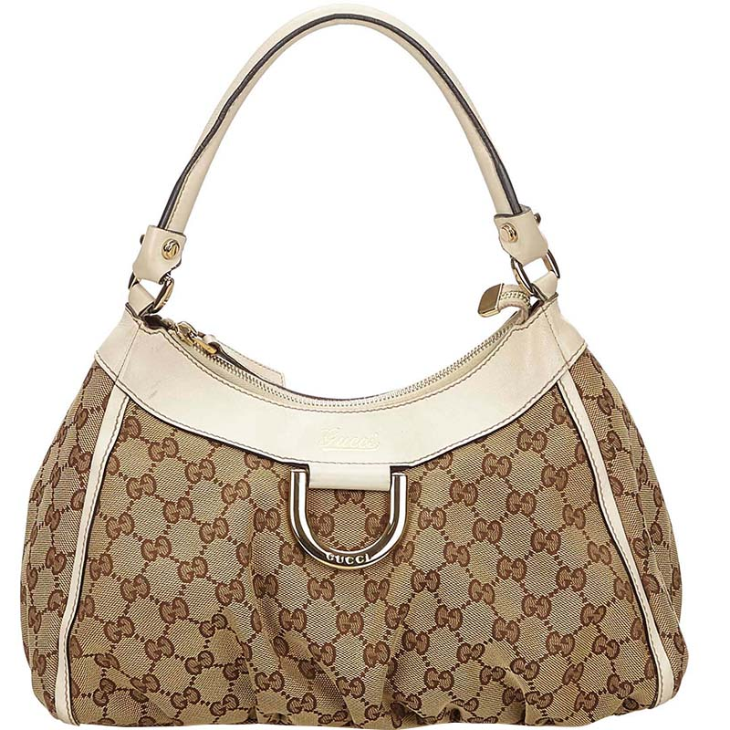 634f3d68c9ce Buy Gucci Beige White GG Canvas and Leather Small D Ring Shoulder ...