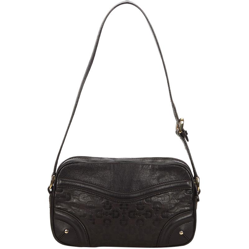 556916bd38d Buy Gucci Black Embossed Leather Shoulder Bag 159084 at best price