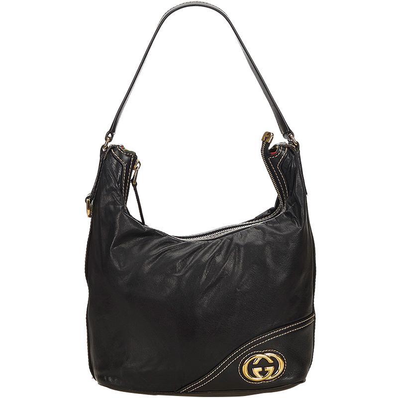 73627aaab9c Buy Gucci Black Leather Medium Britt Hobo 160376 at best price