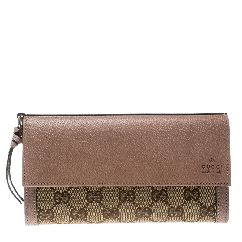 d4ba0d26d5c3 Buy Gucci Beige GG Canvas and Leather Continental Wallet 160866 at ...