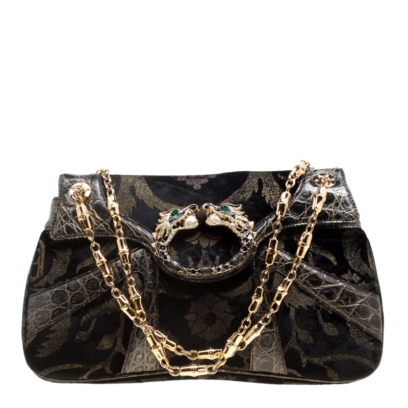 63029f294fd356 ... Gucci Black Printed Velvet and Alligator Trim Limited Edition Tom Ford  Dragon Shoulder Bag. nextprev. prevnext