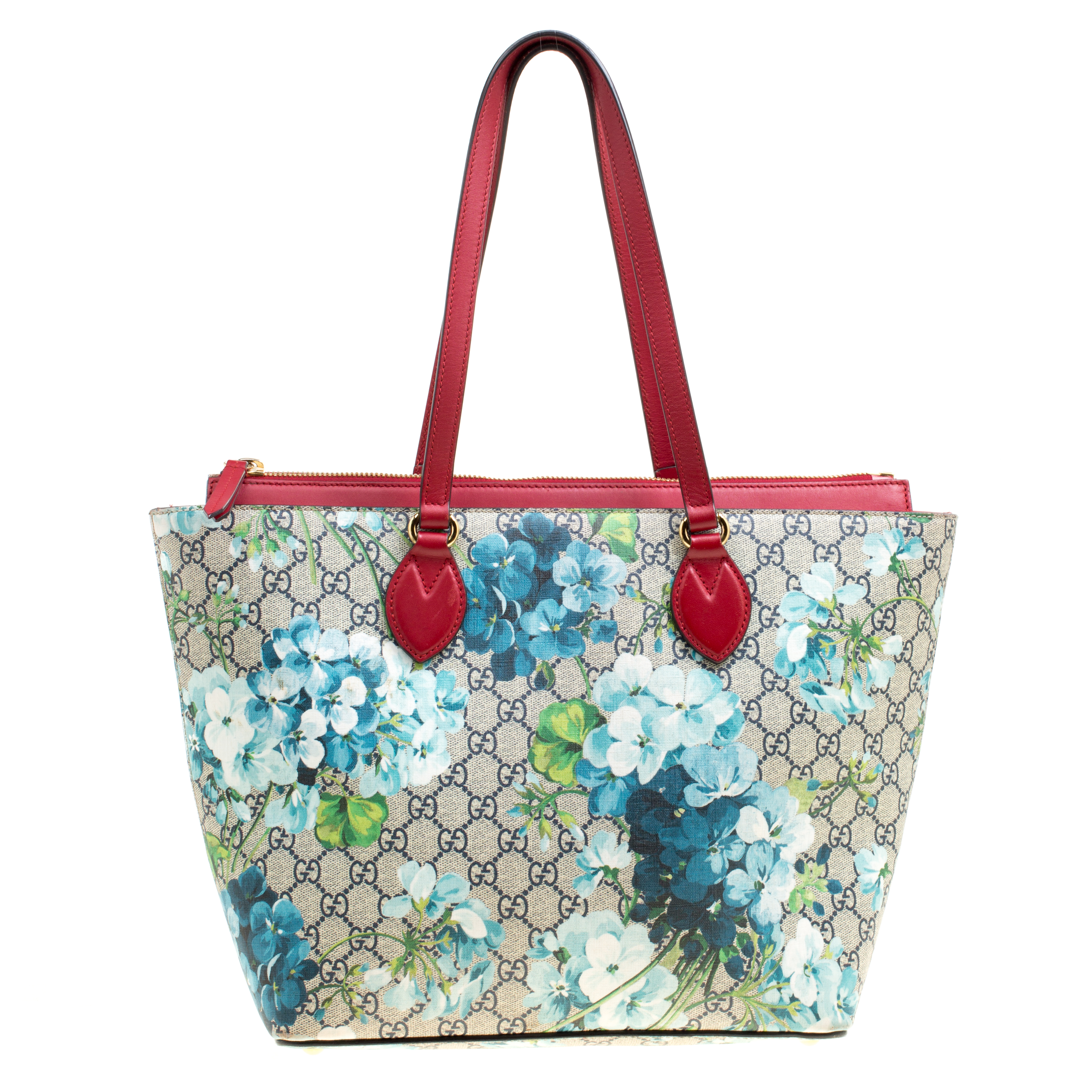 90038e4cd29 Buy Gucci Multicolor Red Bloom Print Supreme Canvas and Leather ...