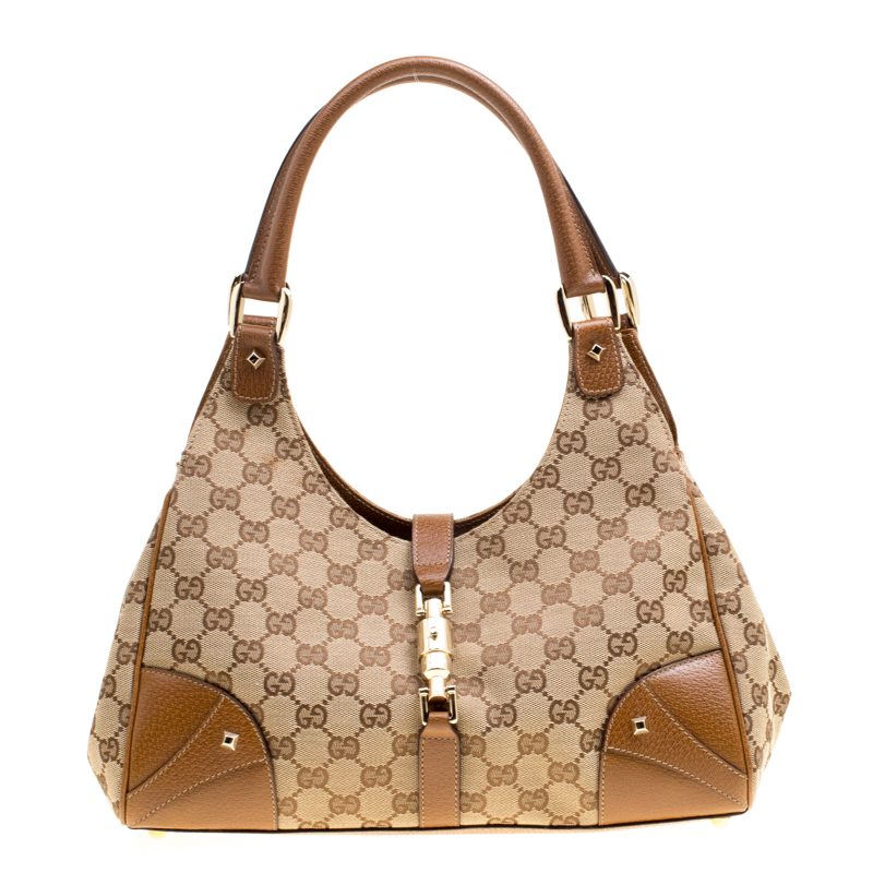 0e5459a4492a Buy Gucci Beige/Brown GG Canvas and Leather Bardot Bag 162566 at ...