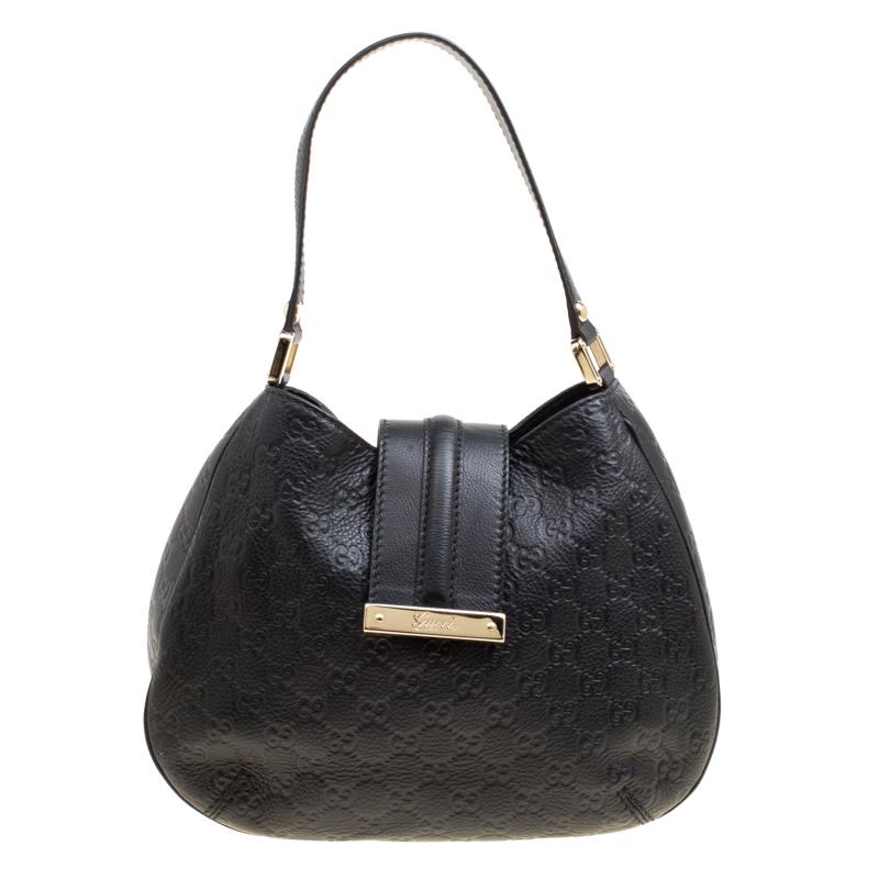7d59a01c5 ... Gucci Black Guccissima Leather Small New Ladies Vintage Web Hobo.  nextprev. prevnext