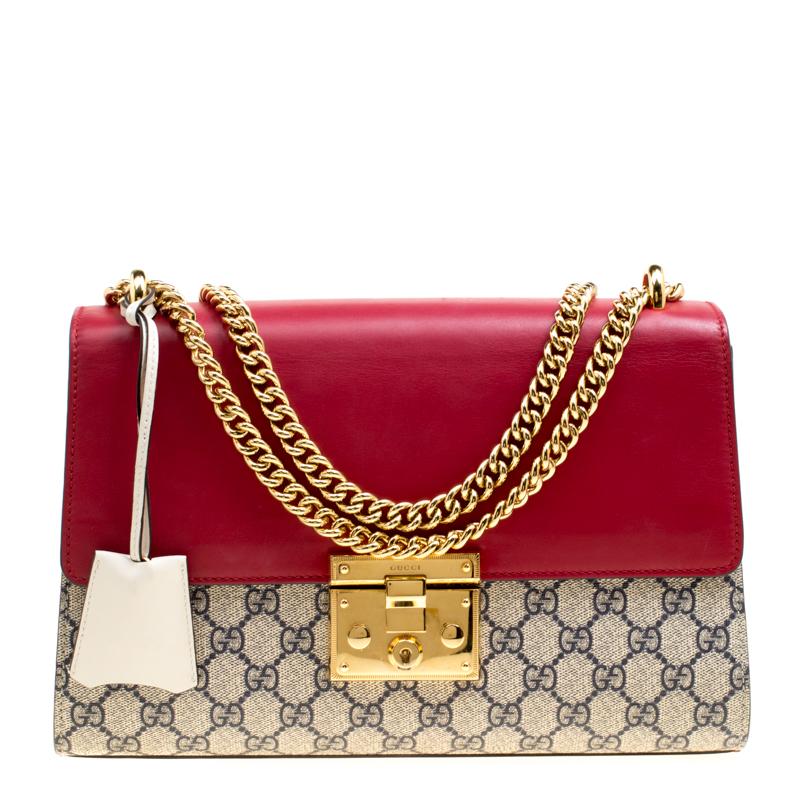 0716231ad0d ... Gucci Beige Mulitcolor GG Supreme Canvas and Leather Medium Padlock  Shoulder Bag. nextprev. prevnext