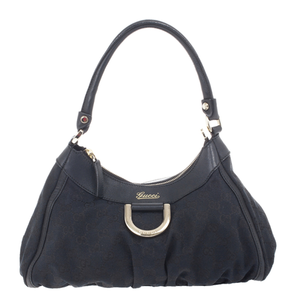1f617795c Buy Gucci Black Small GG Canvas D Gold Hobo 16322 at best price | TLC
